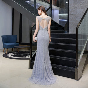 Grey/Champion V Neck Sleeveless Open Back Prom Dresses With Beaded