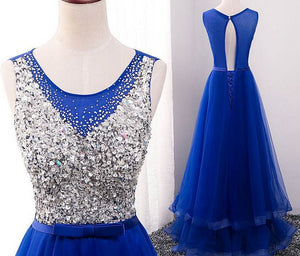 Blue Scoop Neck Sleeveless Open Back Prom Dresses With Sequin
