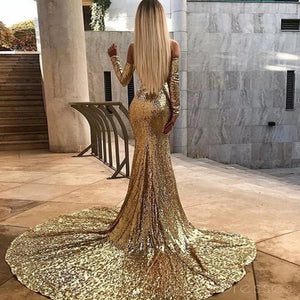 Sexy Sweetheart Long Sleeves Side Slit Prom Dress Sequin Evening Dresses