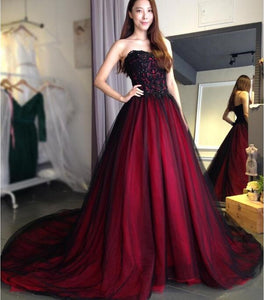 Unique Black Burgundy Sweetheart Lace Up A-Line prom dresses