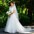 Women's Lace Tulle A-line Wedding Dresses with Short Sleeve Bridal Wedding Gown