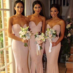 Sexy Pink Sweetheart Open Back Slim Line Mermaid Satin Bridesmaid Dresses Prom Dresses