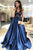 Gorgeous Lace V-neckline Navy Blue Prom Dresses with Satin Skirt