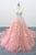 Romantic Peach Pink Tulle Cathedral Train Lace backless Wedding Dress