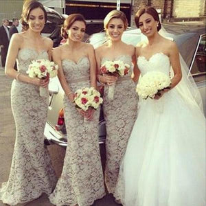 Sexy Ivory Sweetheart Empire Waist Mermaid Lace Bridesmaid Dresses Prom Dresses