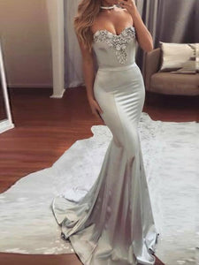 Silver Mermaid Satin Prom Dresses,Long Sweetheart Evening Dresses With Appliques