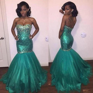 Gorgeous Green Slim Line Sleeveless Sweetheart Mermaid Sequin Evening Dresses Prom Dresses - NICEOO