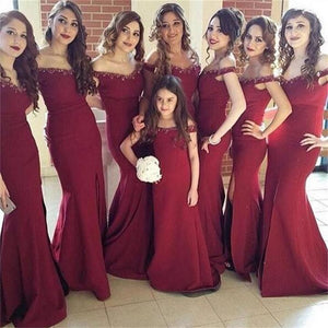 Elegant Burgundy V Neck Off Shoulder Side Split Mermaid Satin Bridesmaid Dresses Best Evening Dresses - NICEOO