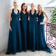 Elegant Dark Teal Sweetheart A-Line Empire Waist Tulle Bridesmaid Dresses Formal Dresses - NICEOO