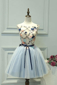 Cute Round Neck A Line Sleeveless Homecoming Dresses Short Cocktail Dresses With Appliques - NICEOO