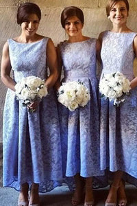 Elegant Lilac Empire Waist Round Neck Sleeveless Lace Bridesmaid Dresses Evening Dresses - NICEOO