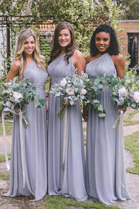 Elegant Lavender One Shoulder Floor-Length Open Back Empire Waist Chiffon Bridesmaid Dresses Evening Dresses - NICEOO