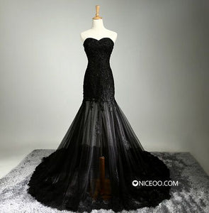 Elegant Black Sweetheart Slim Line Long Prom Dresses Lace Evening Dresses - NICEOO