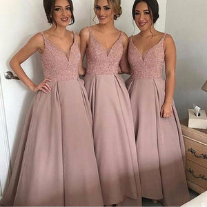Simple Pink V-Neck Sleeveless A-Line Satin Bridesmaid Dresses Prom Dresses
