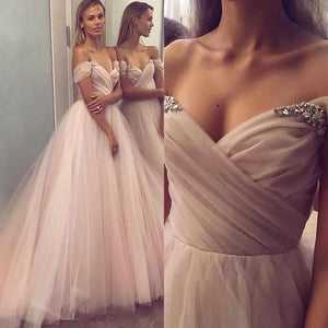 Romantic Off shoulder Beaded A-Line Tulle wedding dresses