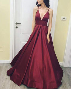 Charming Spaghetti Straps prom dresses high slit satin evening dresses