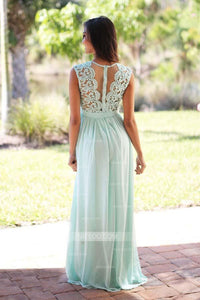 Elegant Pale Green Round Neck Sleeveless Chiffon Bridesmaid Dresses Prom Dresses - NICEOO