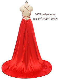 Charming Spaghetti Straps backless prom dresses with Double Pockets