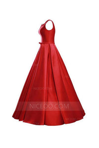 Gorgeous Red A Line V Neck Bowknot Lace Up Evening Dresses Prom Dresses - NICEOO
