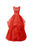 Gorgeous Red A Line Round Neck Sleeveless Open Back Organza Evening Dresses Prom Dresses - NICEOO