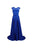 Elegant Royal Blue Round Neck Empire Waist A Line Long Chiffon Prom Dresses Evening Dresses