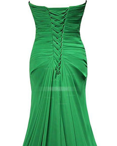 Elegant Green A-line Sweetheart Empire Waist Floor Length Chiffon Bridesmaid Dresses Evening Dresses - NICEOO