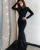 Sexy black Round Neck Long Sleeves Sequin Evening Dresses Mermaid prom dresses