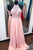 Elegant Pink Prom Chiffon Dresses with Beaded Lace Bodice evening dresses