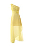 Cute Yellow A Line One Shoulder Empire Waist Chiffon Bridesmaid Dresses Prom Dresses