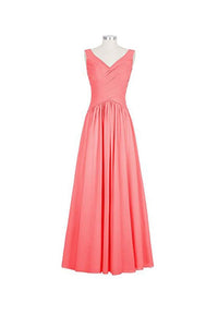Simple Peach V-Neck Sleeveless A-Line Empire Waist Chiffon Bridesmaid Dresses Prom Dresses