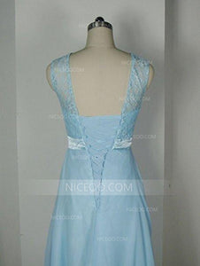 Elegant Light Blue Round Neck A Line Lace Up Chiffon Bridesmaid Dresses Evening Dresses - NICEOO