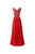 Elegant Red A Line Round Neck Empire Waist Beading Chiffon Prom Dresses Evening Dresses