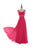Simple Rose Red A Line Sweetheart Beading Sleeveless Chiffon Bridesmaid Dresses Prom Dresses