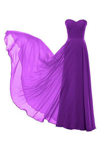 Simple Purple A Line Strapless Empire Waist Chiffon Bridesmaid Dresses Prom Dresses