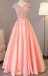 Cap Sleeve Evening Dresses Pink Appliques Long V Neck prom dresses