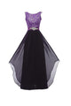 Elegant Purple A Line Sleeveless Open Back Chiffon Long Evening Dresses Bridesmaid Dresses - NICEOO