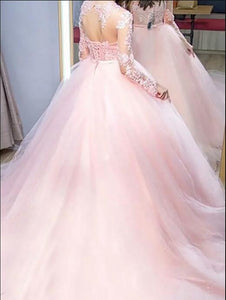 Ball Gown Long Sleeves Train Lace Tulle Dresses pink wedding dresses