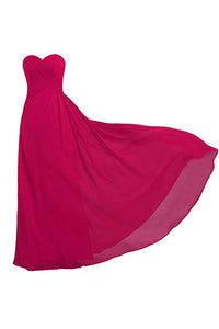 Simple Rose Red A Line Strapless Floor Length Chiffon Bridesmaid Dresses Evening Dresses