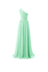 Unique Mint Green A Line One Shoulder Long Chiffon Prom Dresses Evening Dresses