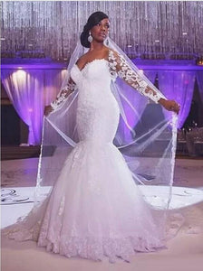 Charming Mermaid Long Sleeves Sweetheart Lace Applique Tulle Wedding Dresses