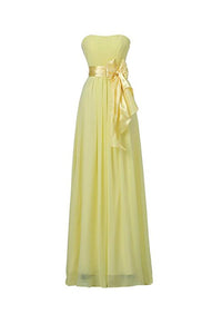 Elegant Yellow A Line Strapless Bowknot Chiffon Bridesmaid Dresses Evening Dresses - NICEOO