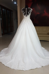 Elegant Lace Cap Sleeve A-Line Wedding Dresses with Transparent Neckline