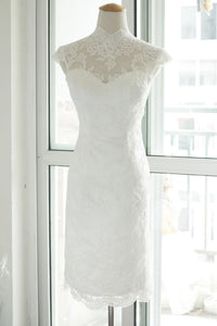 High collar style cap sleeve lace sheath sexy wedding gown