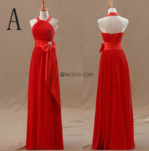 Pretty Red Five Styles Empire Waist Bowknot Chiffon Bridesmaid Dresses Prom Dresses
