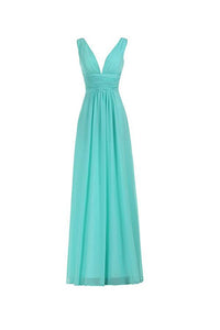 Elegant Tiffany Blue A Line V Neck Sleeveless Chiffon Bridesmaid Dresses Evening Dresses