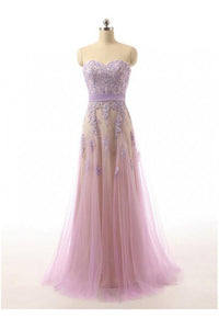 Sweet Lilac A Line Strapless Appliques Tulle Evening Dresses Evening Dresses