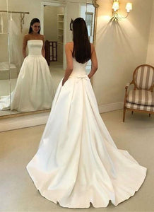Elegant Strapless Open Back Satin wedding dresses with Pockets