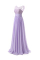 Elegant Lilac A Line Round Neck Sleeveless Lace Up Chiffon Bridesmaid Dresses Evening Dresses - NICEOO