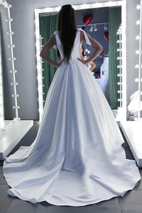 Elegant Pure White Satin Wedding Dress Illusion Plunging Neckline