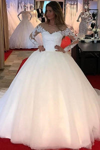 2019 Charming Lace Long Sleeves Tulle Ball Gown V Neck Wedding Dresses